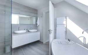 A clean white minimalistic bathroom.