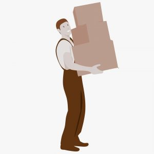 A logo of a man holding 3 boxes