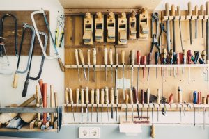 Tools on shelves.