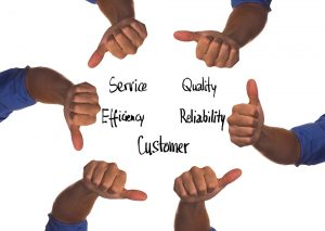 5 hands showing different makings of a reliable moving company.