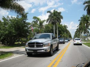 Cars on road in Florida.