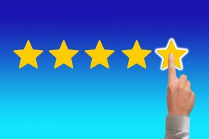 Giving a five star rating after renting a storage unit.