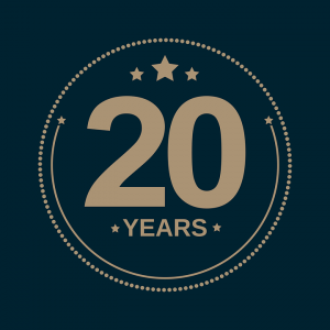 20 years banner