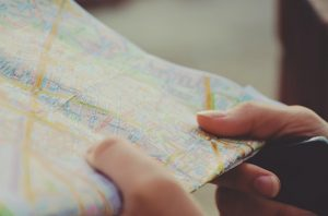 Person holding a map