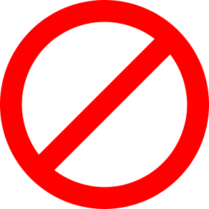 A prohibition sign symbolizing that although there are many reasons to rent a storage when moving abroad, you cannot store anything