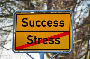"A sign featuring words ""Success"" and ""Stress"", where stress is crossed out"