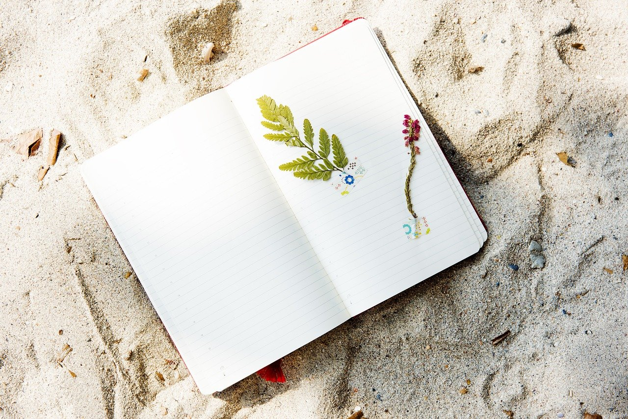 notebook on the beach