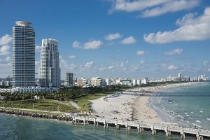 Miami Beach and buildings. Miami is one of the best places for artists in Florida.