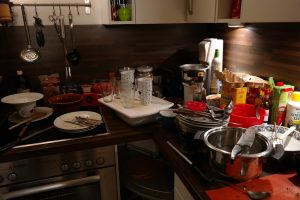 Clutter on the kitchen counter